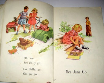 Vintage (1956) Dick and Jane Reader - The New We Come and Go