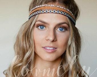 SUMMER SALE Bohemian hippie stretch headband - 3 pack-  hair headband hair accessory- leather, fabric, bead