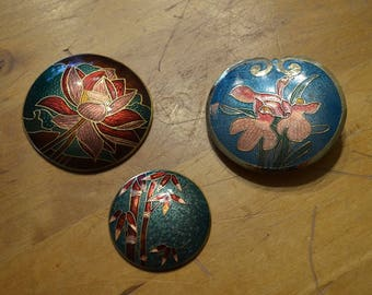 Cloisonne Belt Buckle Lot of 3.  Orchid florals and bamboo.  brass and gold tone. finding embellishment.