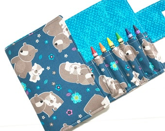 Crayon holder, Gift for kids, Crayon storage, Crayon case, Coloring book, Drawing pad, Travel wallet, bear wallet, blue wallet, Kids toy