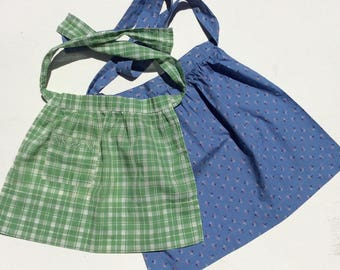 Vintage Child's Apron Pair Blue & Green
