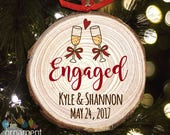 Engagement couple personalized cut pine wood Christmas ornament - great gift for newly engaged couple MWO-008