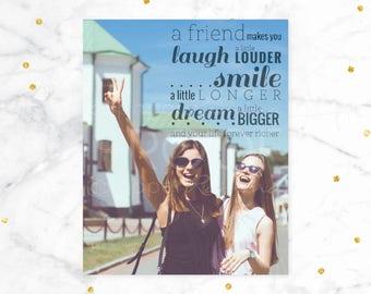 Best Friend Gift, Best Friend Birthday Gift, Photo Quote Art Print, Custom Best Friend Gift // You Choose Size & Type // H-Q20-1PS ZZ1 04S