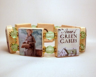 ANNE of GREEN GABLES / Prince Edward Island / Scrabble Handmade Jewelry - Bracelet / Book Lover Gift