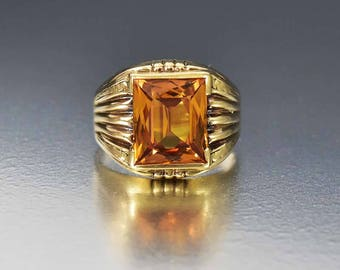 Art Deco Yellow Sapphire Ring, Gold Sapphire Signet Ring, Statement Ring, Vintage Birthstone Gemstone Ring, Antique Ring, Golden Sapphire