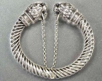 French Antique Lion Bracelet | Sterling Silver Art Deco Bracelet | Lion Bangle Bracelet | Vintage Bracelet | French Silver Bracelet