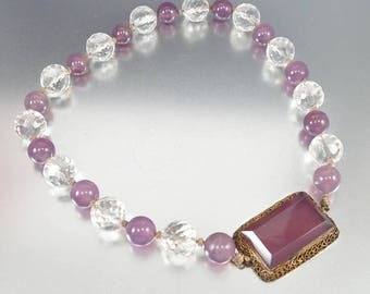 Vintage Purple Moonstone Necklace | Silver Gold Vermeil Chinese Crystal Art Deco Necklace | Glass Bead Necklace | Choker Necklace