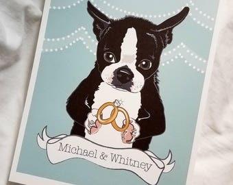 Wedding Boston Terrier - Eco-Friendly 8x10 Print