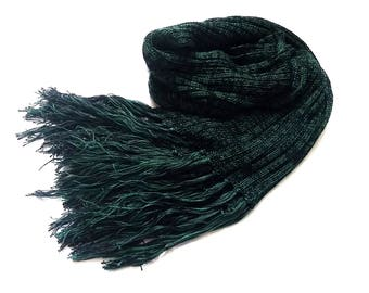 Unisex Green and Black Eco friendly Scarf or Wrap - Luxurious gift for men or women