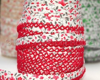 FINAL CLEARANCE SALE Bias Tape Spring Flowers in Poppy Cotton and Lace - Double Fold