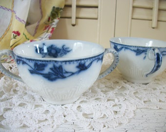 2 Beautiful Rare Antique Flow Blue China Cups Consomme Broth Cups Bowls Double Handled  Dark Cobalt Blue and White Embossed