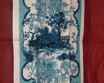 Linen TOWEL Old French Provincials Vintage Kay Dee Hand Print Matin Midi Soir 100% Cotton Blue White Kitchen Guest