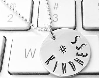Hashtag hand stamped sterling silver necklace