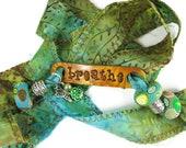 Breathe Batik Yoga Bracelet Handmade Polymer Clay Beads Pewter Butterfly Charm Anklet Yoga Bohemian Jewelry Cotton Fabric