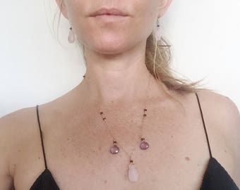 Rose Quartz Amethyst Chain Necklace and Earring Jewelry Set