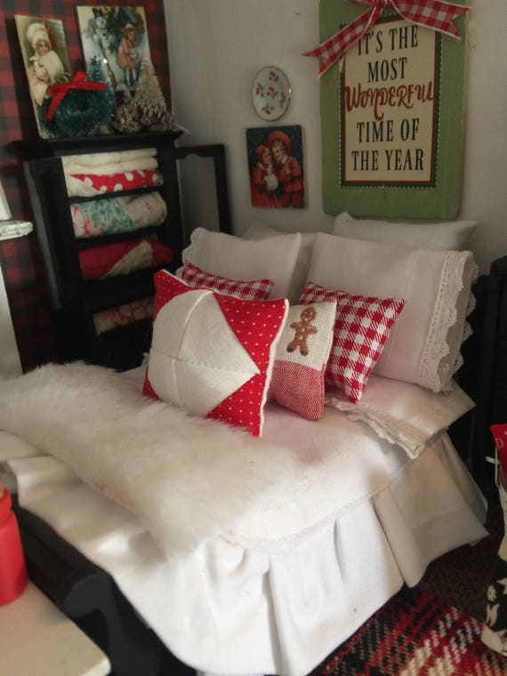 Miniature Christmas Sleigh Bed and White Bedding -1:12 scale