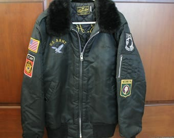 US Army Tour Jacket, 1970s Timber King Quilted Lined Coat with Patches, Embroidery