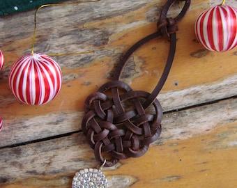 Celtic Knot Christmas Decoration with Crysal Sparkle Pendant -- Tree Ornament, Spanish leather, Festive Home Decor, Seasonal bling, OOAK
