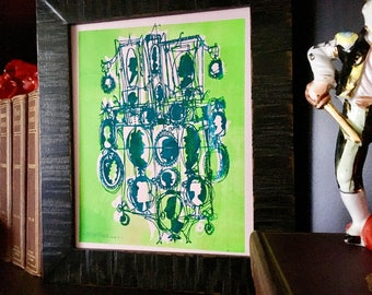 CAMEOS #063  quirky art print, silkscreen printed by hand in electric blue and greens (8x10)