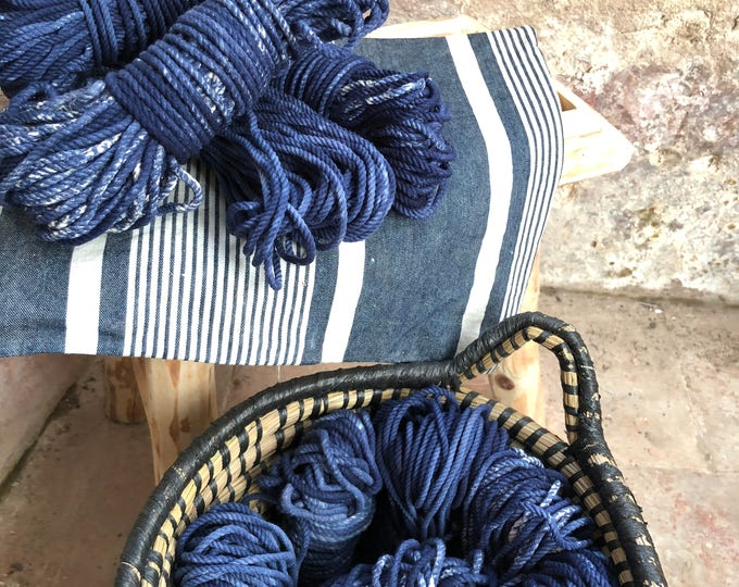 Skein ( 82 ft)  of cotton rope for macrame , diameter 3mm ( 9 ga), made in france Indigo Tie and dye
