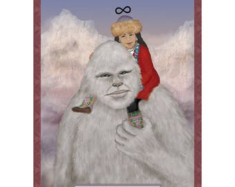 Strength Himalayan Yeti Cryptozoology Tarot Card Print
