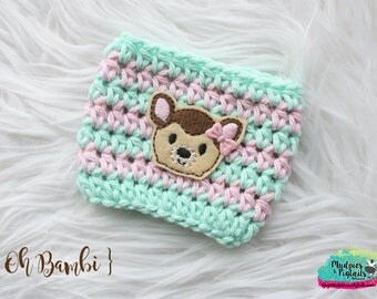 Deer Cup Cozy { Bambi } pink, mint, tsum tsum coffee sleeve, food, birthday, stocking stuffer, mug starbucks, crochet