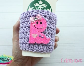 Cup Cozy { Dino Love } pink dinosaur, crochet coffee sleeve, knit mug sweater, starbucks gift, frappuccino holder