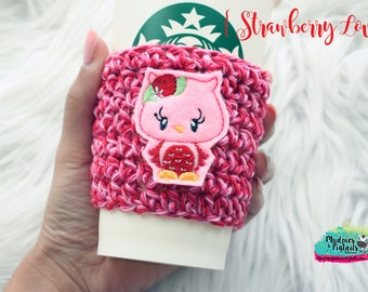 Owl Cup Cozy { Strawberry Love } pink, red valentine's day crochet coffee sleeve, knit mug sweater, starbucks gift, frappuccino holder