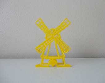 VINTAGE yellow lustro ware dutch windmill NAPKIN HOLDER