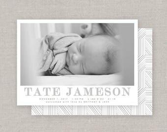 Baby Boy Birth Announcement - Tate
