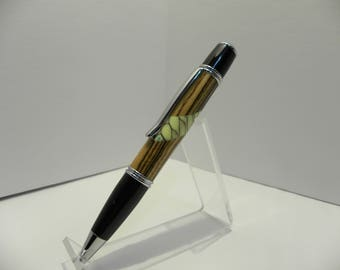 Zebrawood and cast honeycomb Twist Ball Point Pen