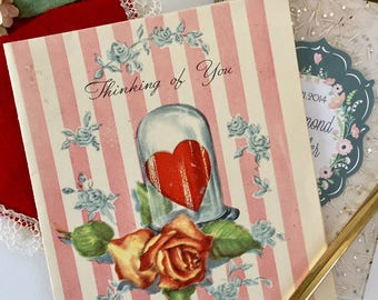 Sweet Vintage 1940s Valentine Card with Roses and Hearts, Hearts, Yellow Roses, NOS