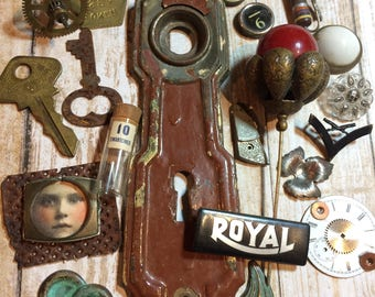Vintage Assemblage Lot- Hardware Escutcheon- Stick Pin- Keys- Brass Token Typewriter Keys- Found Object Lot