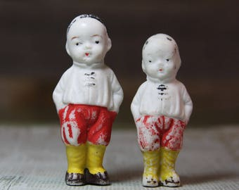 Vintage DOLLS- Japanese- Bisque Dolls Made in Japan- Hand Painted- Braided Hair Chippy Paint Patina