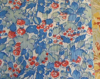 BERRY & LEAF FABRIC Blueberries Red Currants Raspberries Pastel Teal Leaves Unused Cotton, Clothing Quilt Pillowcases 2 pcs 2.5 yds total