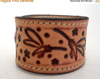 Dragonflies Leather Wrist Cuff Bracelet Stars Repurposed Jewelry Dragonfly Reclaimed