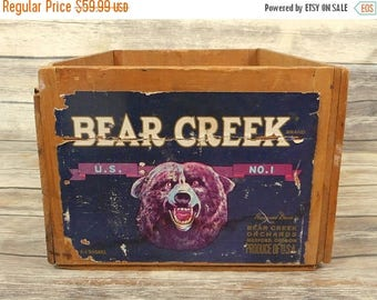 Bear Creek Orchards Wood Box Antique Wooden Rustic Crate Primitive Oregon Label