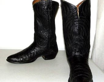Rockabilly Western Black Ostrich Cowboy boots size 10.5 D or Cowgirl size 12 - distressed
