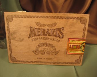MEHARIS CIGAR VINTAGE Cigar Box with hinged lid wood box with only wood parts,Agio barnd cigar box for ciagrs made in Holland,Wood Box,Agio