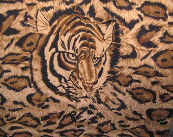SCARF with TIGER LEOPARD Chetta Image,Large vintage scarf with animal print,designer like 40 by 40 inch ladies black white tanscarf,animal