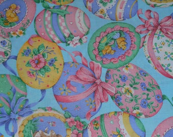 Easter Eggs on Blue background Cranston Print Works Fabric