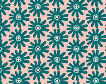 Green Garden Fabric - Geo Garden (Astrid - Frost/Blush) By Gracesutherland - Green Floral Decor Cotton Fabric By The Yard With Spoonflower