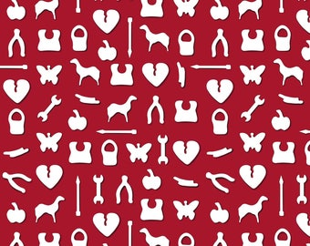 Charms Fabric - Little Pieces By Dearchickie - Board Games Butterfly Wishbone Heart Wrench Cotton Fabric By The Yard With Spoonflower