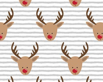 Reindeer Fabric - Rudolph Reindeer Grey Stripe By Littlearrowdesign- Baby First Christmas Holiday Cotton Fabric By The Yard With Spoonflower