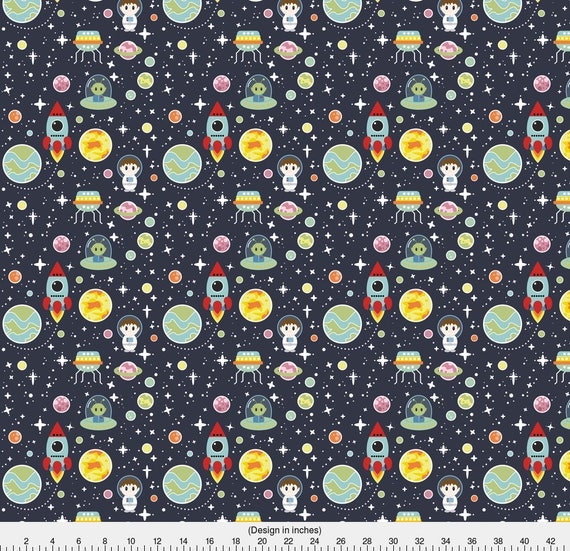 Space adventure fabric oh space boy by cloudsfactory for Space minky fabric