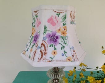 Floral Lampshade, Pretty English Embroidery Lamp Shade, Small Clip Shade,Purple, Pink, Green, Yellow, Beautiful Vintage Needlework, Handmade