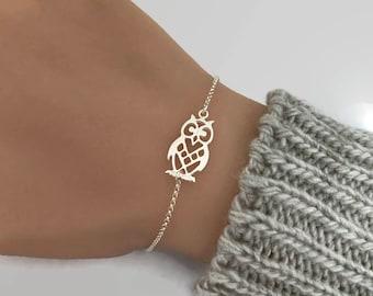 Sterling Silver Owl Bracelet, 925 sterling silver, owl jewellery