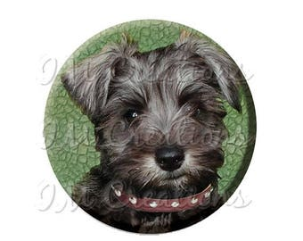 "50% OFF - Pocket Mirror, Magnet or Pinback Button - Wedding Favors, Party themes - 2.25""- Sweet Schnauzer MR398"