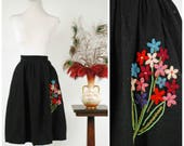 Vintage 1950s Skirt - Gorgeous Black Wool Full Pleated Skirt with Embroidered Yarn Flower Bouquet