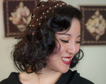 50% CLEARANCE Vintage 1950s Hat - Cute Brown Velveteen Pearl Adorned 50s Headband Scarf with Tail